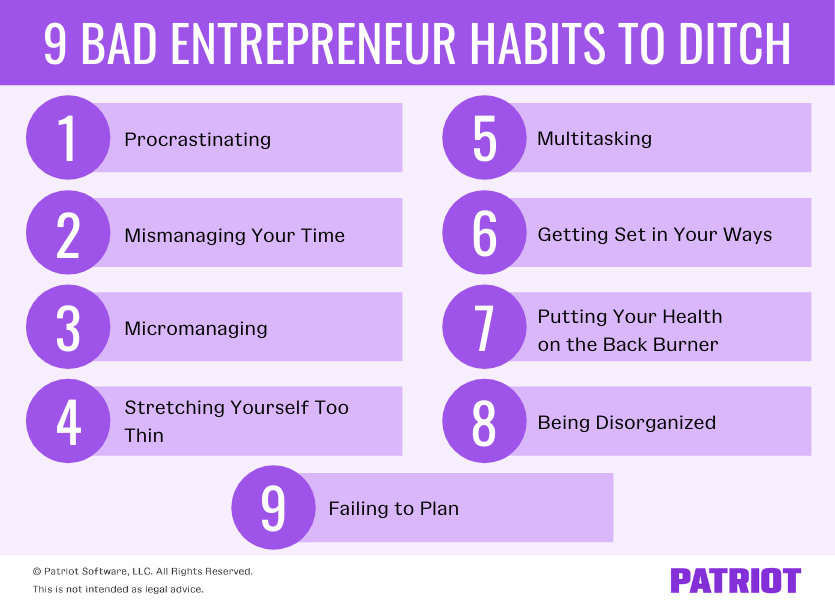list of the nine bad entrepreneur habits to ditch