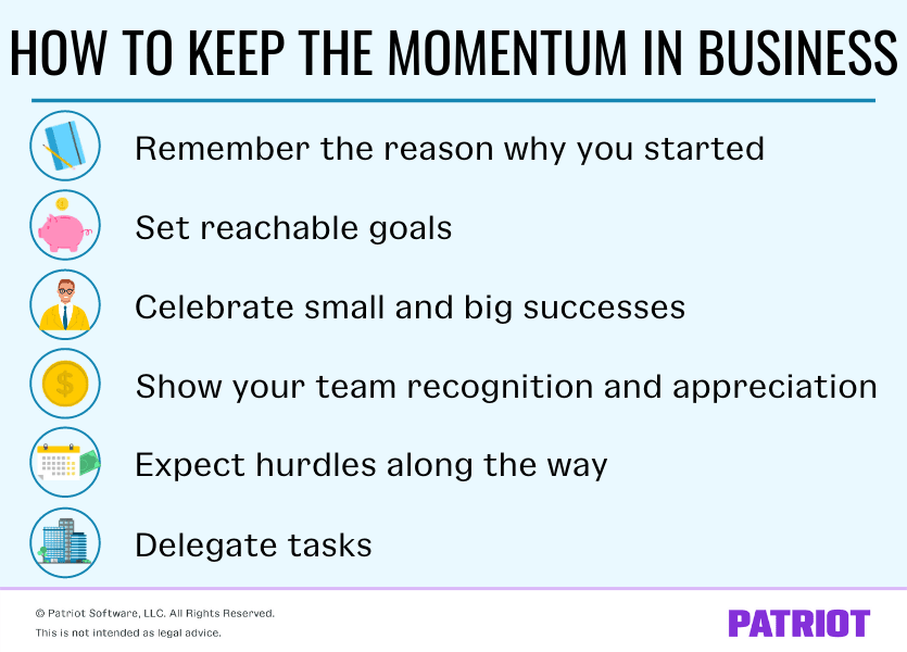 tips for keeping the momentum going in your small business