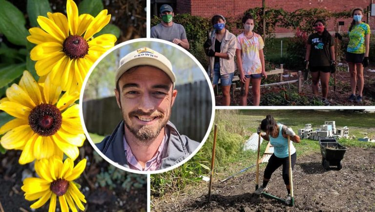Collage featuring Crown Community Garden's owner, volunteers, and flowers
